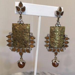 Jewelry - Bright Gold Metal & Orange Citrine Earrings